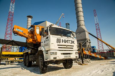 Rent an all road Aerial work platform KAMAZ with 45m long boom