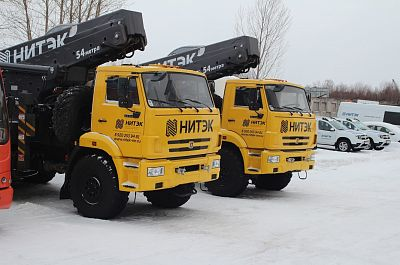 Rent KAMAZ off road aerial work platform with 54m long boom